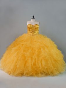 Beading and Ruffles Quince Ball Gowns Gold Lace Up Sleeveless Floor Length