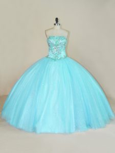 Simple Aqua Blue Ball Gowns Tulle Strapless Sleeveless Beading Floor Length Lace Up Quinceanera Dress