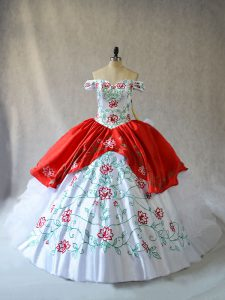 Inexpensive White And Red Organza Lace Up Off The Shoulder Sleeveless Sweet 16 Dresses Embroidery and Ruffled Layers