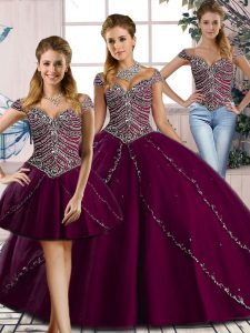 Discount Brush Train Three Pieces Quinceanera Gown Purple Sweetheart Tulle Cap Sleeves Lace Up