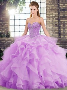 Lavender Ball Gowns Sweetheart Sleeveless Tulle Brush Train Lace Up Beading and Ruffles Quinceanera Gowns