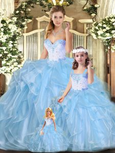 Floor Length Blue Quinceanera Gowns Sweetheart Sleeveless Lace Up