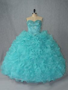 Great Beading and Ruffles Quinceanera Gown Aqua Blue Lace Up Sleeveless