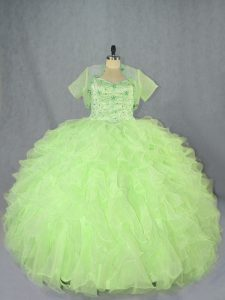 Noble Yellow Green Ball Gowns Beading and Ruffles Sweet 16 Dress Lace Up Organza Sleeveless Floor Length