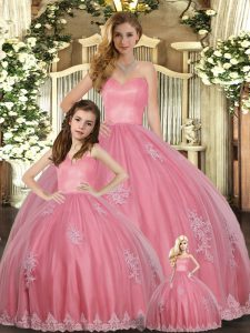Comfortable Tulle Sleeveless Floor Length Sweet 16 Quinceanera Dress and Appliques