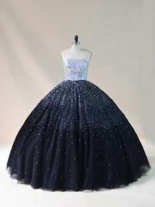 Graceful Black Ball Gowns Tulle Strapless Sleeveless Beading Floor Length Lace Up 15 Quinceanera Dress