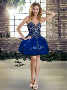 Smart Sweetheart Sleeveless Lace Up Evening Dress Royal Blue Tulle