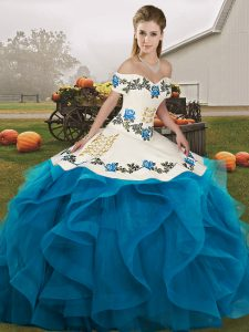 Blue And White Ball Gowns Tulle Off The Shoulder Sleeveless Embroidery and Ruffles Floor Length Lace Up Quince Ball Gowns