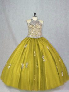 Olive Green Vestidos de Quinceanera Sweet 16 and Quinceanera with Beading and Appliques Halter Top Sleeveless Lace Up