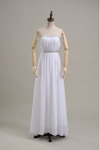 Superior Empire Wedding Dresses White Strapless Chiffon Sleeveless Floor Length Backless