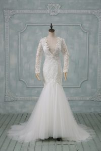 Stylish Brush Train Mermaid Bridal Gown White V-neck Tulle Long Sleeves Backless
