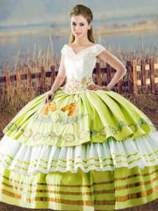 Luxury V-neck Sleeveless 15th Birthday Dress Floor Length Embroidery and Ruffled Layers Yellow Green Satin