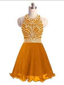Orange Halter Top Neckline Beading Prom Party Dress Sleeveless Lace Up