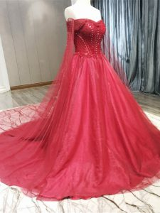Coral Red Sleeveless Beading Zipper Bridal Gown