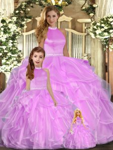 Artistic Sleeveless Beading and Ruffles Backless Quinceanera Gown