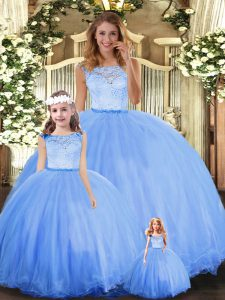 Glamorous Blue Scoop Neckline Lace Quinceanera Gowns Sleeveless Clasp Handle