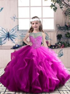Floor Length Lace Up Pageant Gowns For Girls Fuchsia for Party and Wedding Party with Beading and Ruffles