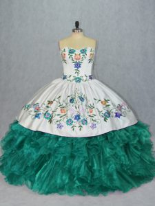 Enchanting Turquoise Organza Lace Up Sweetheart Sleeveless Floor Length 15th Birthday Dress Embroidery and Ruffles