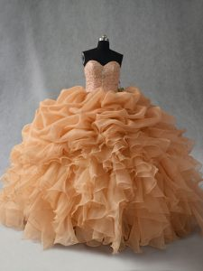 Edgy Organza Sleeveless Floor Length Quinceanera Dresses and Beading and Ruffles and Pick Ups