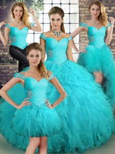 Inexpensive Sleeveless Lace Up Floor Length Beading and Ruffles Sweet 16 Dresses