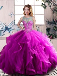 Free and Easy Purple Lace Up Scoop Beading and Ruffles Ball Gown Prom Dress Tulle Sleeveless
