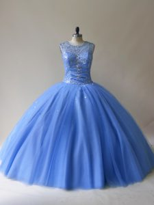 Floor Length Lace Up 15 Quinceanera Dress Baby Blue for Sweet 16 and Quinceanera with Beading