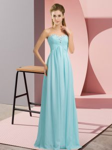 Admirable Baby Blue Sleeveless Chiffon Lace Up Evening Dress for Prom and Party and Military Ball
