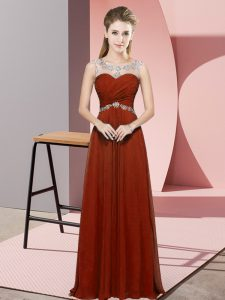 Floor Length Backless Prom Dress Rust Red for Prom and Party and Military Ball with Beading