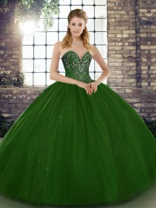 Enchanting Floor Length Ball Gowns Sleeveless Green 15 Quinceanera Dress Lace Up