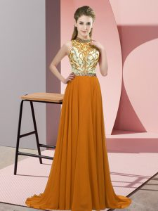 Attractive Halter Top Sleeveless Prom Gown Brush Train Beading Brown Chiffon