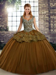 Beautiful Straps Sleeveless Sweet 16 Dress Floor Length Beading and Appliques Brown Tulle