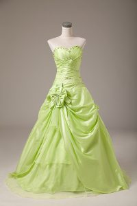 Customized Sweetheart Sleeveless Organza Quinceanera Gown Beading and Hand Made Flower Lace Up