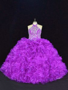 Purple Lace Up Halter Top Beading and Ruffles Sweet 16 Quinceanera Dress Organza Sleeveless