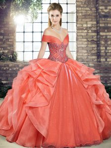 Orange Red Ball Gowns Off The Shoulder Sleeveless Organza Floor Length Lace Up Beading and Ruffles Sweet 16 Dresses