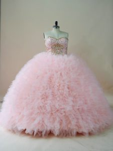 Baby Pink Ball Gowns Beading and Ruffles Quince Ball Gowns Lace Up Tulle Sleeveless