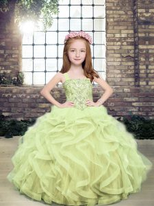 Straps Sleeveless Lace Up Evening Gowns Yellow Green Tulle