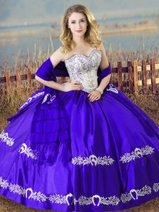 Stylish Sweetheart Sleeveless Lace Up 15 Quinceanera Dress Blue Satin