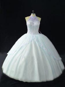 Dazzling Tulle Halter Top Sleeveless Lace Up Beading Quinceanera Dress in Blue