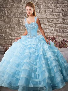 Low Price Blue Quinceanera Dress Organza Court Train Sleeveless Beading and Ruffled Layers