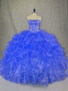 Floor Length Blue Vestidos de Quinceanera Organza Sleeveless Beading and Ruffles