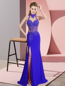Modern Royal Blue Sleeveless Floor Length Lace and Appliques Backless Homecoming Dress