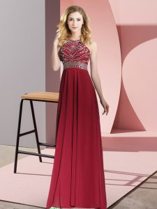Fashion Burgundy Sleeveless Chiffon Backless Prom Evening Gown for Prom and Party