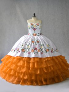 Orange Lace Up Vestidos de Quinceanera Embroidery and Ruffled Layers Sleeveless Floor Length