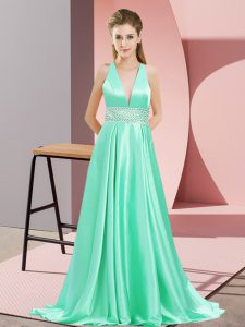 Sleeveless Beading Backless Celebrity Dress with Apple Green Brush Train