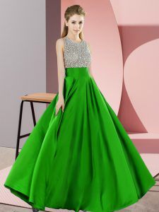 Green Sleeveless Elastic Woven Satin Backless for Prom and Party
