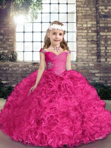 Fuchsia Fabric With Rolling Flowers Lace Up Straps Sleeveless Floor Length Pageant Dress Toddler Beading