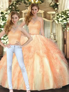 Trendy Sweetheart Sleeveless Organza 15 Quinceanera Dress Beading and Ruffles Lace Up