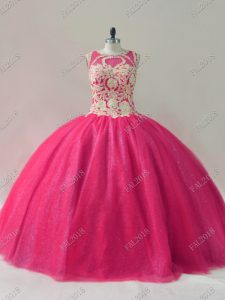 Hot Pink Ball Gowns Tulle Scoop Sleeveless Beading Floor Length Lace Up Quinceanera Dresses