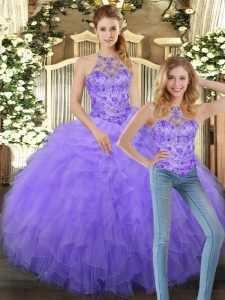 Fine Sleeveless Tulle Floor Length Lace Up 15th Birthday Dress in Lavender with Beading and Ruffles