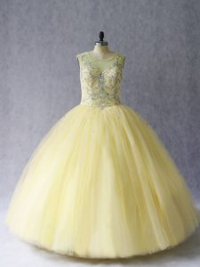 Glorious Sleeveless Tulle Floor Length Lace Up Sweet 16 Quinceanera Dress in Light Yellow with Beading